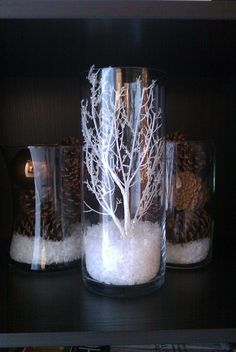 vases with fake snow to decorate