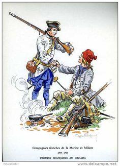 Troupes françaises au Canada (1755-1760) 12 gravures signées d´Eugène Leliepvre…