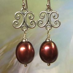 Large Chocolate Brown Freshwater Pearl Drop Earrings with Sterling Silver Ornate Filigree Connectors by kauainanidesigns on Etsy
