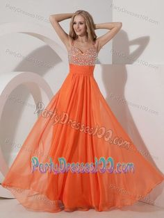 Discount Beading Orange Empire Straps Chiffon Prom Party Dress