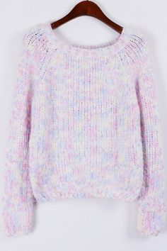 Furry Heather Cropped Sweater OASAP.com