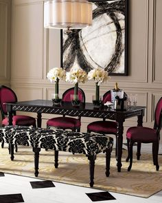Modern Black Dining Table Idea: A bench is a fun way to break up a dining room set while still providing the same amount of seating that chairs would. Using a bench also allows you to incorporate a strong pattern statement with the upholstered seat and helps to lighten the visual impact of a heavy wood dining set. ➤ Discover the season's newest designs and inspirations. Visit us at www.moderndiningtables.net #diningtables #homedecorideas #diningroomideas @ModDiningTables