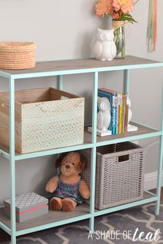 When I first starting this room makeover I originally planned to keep my daughters current shelving unit. But when I placed it where I wanted it I realized it's too big for this room. So, I f…