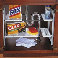 Undersink storage shelves utilize more space around the drain pipe.  Madesmart.com $15