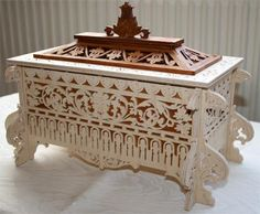 Three wise men coffer chest scroll saw fretwork pattern
