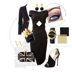 """""""Black and Gold"""" by thestylingagency on Polyvore  #Blackandgold #lbd #gold #goldwatch #blackdress #eveningwear"""