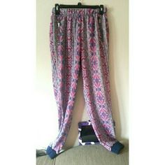 Selling this Pink and blue bohemian pants in my Poshmark closet! My username is: andieemichelle. #shopmycloset #poshmark #fashion #shopping #style #forsale #Pants