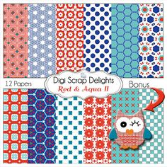 #Red and #Aqua Digital Papers #Owl for Digital by DigiScrapDelights Digital Scrapbook