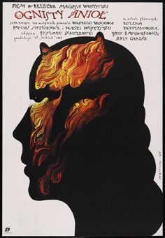 Polish Movie poster: Ognisty aniol Angel of Fire Wieslaw Walkuski, 1985 Polish Movie Posters, Polish Films, Best Movie Posters, Film Posters, Graphic Illustration, Graphic Art, Graphic Design, Exhibition Poster, Poster
