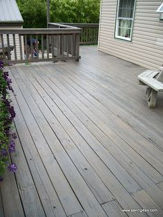 We hadn't ever stained our deck and we have had it for 17 years. What were we thinking? Well, this was the season to stain it but first it needed some serious help. It was REALLY filthy. Grey Deck Stain, Wood Deck Stain, Deck Stain Colors, Deck Colors, Deck Colour Ideas, Decking Colours Ideas, House Colors, Cool Deck, Diy Deck