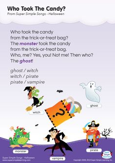 Lyrics poster for Who Took The Candy? Halloween song from Super Simple Learning. Kindergarten Songs, Preschool Music, Fall Preschool, Preschool Activities, Halloween Music, Halloween Kids, Haloween Ideas, Halloween Activities, Halloween Songs Preschool