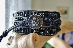 BACK in BLACK Triple Wrap Black Leather by BraceletsofBlueRidge, $66.00