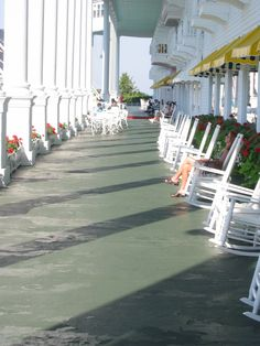 The porch of the Grand Hotel on Mackinaw Island, MI.