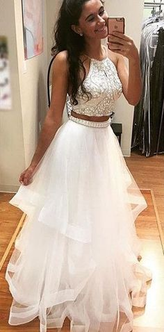 white two pieces sequin tulle long prom dress, white evening dress for teens