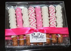 Eight medium sized inches) pretzel rods generously coated with white chocolate. Pretzels are sealed in a clear poly bag to ensure freshness, and then White Chocolate Covered Pretzels, Chocolate Covered Pretzel Rods, Chocolate Centerpieces, Dessert Packaging, Pretzel Treats, Valentines Sweets, Candy Melts, Melting Chocolate, Sweet Recipes