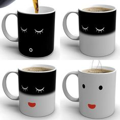 Morning Mug by The Cottage Industry. When beverage cold the mug shows a sleeping face; when the beverage is warm the mug's face wakes up.