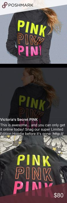 UFT/ RARE VS/Pink full zip w/Bling NEW/HTF SUPER RARE* been in closet it was only Sold 1 Day online and quickly Sold out it was $108 after shipping and taxes. The one photo was from VS webpage. I've wore it inside my home just to show few ppl but it's in more less NEW/MINT Condition not a thing wrong with it No Flaws. I'm Considering something diff I may wear more or match something I've already got. PINK Victoria's Secret Tops Sweatshirts & Hoodies