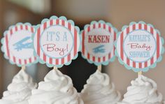 12 - Vintage Airplane Baby Shower Theme Cupcake or Cake Toppers- Ask About our Party Pack Sale.