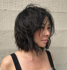 Layered Choppy Black Bob
