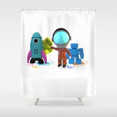 Bots and the Astronaut Shower Curtain