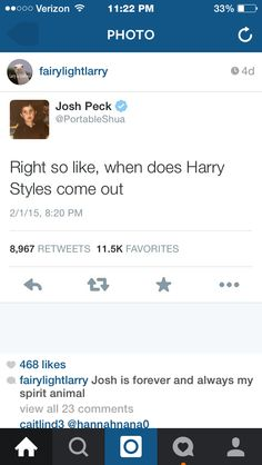 This is why I love Josh Peck. He's either insulting Harry or just asking a question...either way,he knows that Harry is gay.