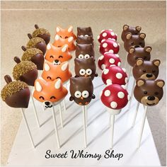 Items similar to 25 Assorted Cute Woodland Cake Pops for Forest baby shower first birthday fall wedding lumberjack kawaii fox mushroom owl acorn bear on Etsy Baby Shower Kuchen, Baby Shower Cake Pops, Baby Shower Desserts, Baby Shower Themes, Baby Boy Shower, Shower Ideas, Fall Cake Pops, Fox Cake, Forest Baby Showers