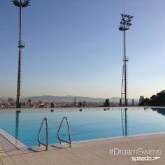 Barcelona:  Piscina Municipal de Montjuïc, Barcelona #DreamSwims - breathtaking view while a breathtaking activity! ;) ❤️