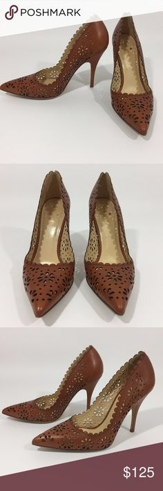 Kate Spade 9 Lana Floral Laser cut Leather Pumps These Kate Spade New York pumps have laser-cut detailing for a delicate, feminine feel. Pointed toe and scalloped top line. Covered stiletto heel and leather sole. Light Camel Brown. EUC  Leather: Cowhide. Made in Italy.  MEASUREMENTS Heel: 3.5in / 90mm  Spring 2014 Retail $350 Does not include box or shoe bags. kate spade Shoes Heels