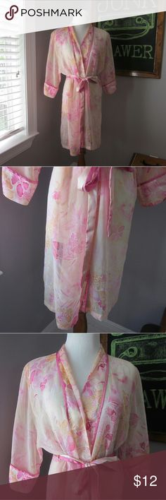 Sheer Floral Robe Md Like New condition. Sheer polyester material. See through.   BUNDLE your likes and shoot me and OFFER! Glad to negotiate. Hundreds of items available for discounted bundle offers! Delicates Intimates & Sleepwear Robes