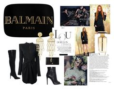 """balmain"" by ashola18 ❤ liked on Polyvore featuring Balmain, Dolce&Gabbana, Pierre Balmain, gold, paris, black, Clutch and balmain"