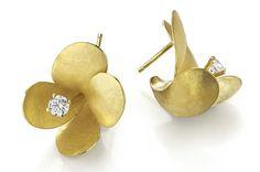 Ayesha Studio - Freesia Earrings in Gold with Diamonds