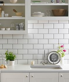 Metro White tiles, Topps Tiles - these are the ones I chose, with the same grey grout, and they look just as good in a bathroom White Wall Tiles, White Subway Tiles, Subway Tile Kitchen, Kitchen Backsplash, Splashback Tiles, Sunway Tile Backsplash, White Tile Backsplash Kitchen, Grey Grout Bathroom, White Tiles Black Grout