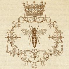 QUEEN BEE Ornate Frame CROWN Digital Collage Sheet Download Burlap Fabric Transfer Bees Iron On Pillows Tote Tea Towels No. 1361 SePIA. $1.00, via Etsy.