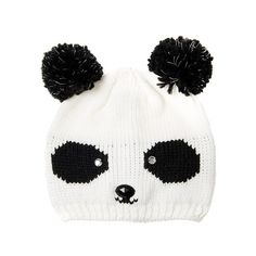 Glow In The Dark Knit Panda Beanie Hat (415 UAH) ❤ liked on Polyvore featuring accessories, hats, panda hat, black pom beanie, black hat, pom pom beanie and pom beanie
