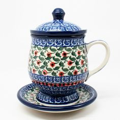 """5 3/4' H x 4 3/4"""" W x 5 1/4"""" L - Quality 1 Guaranteed from the renowned Ceramika Artystyczna Boleslawiec - Polish Pottery is Oven, Microwave, and Dishwasher Safe! - Hand Painted and Stamped by Highly"""