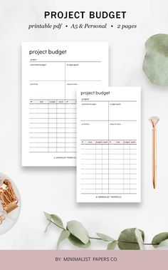 Project Budget and Project Planner, Student Planner and Work Planner, Goal Planner, and Business Planner - A5 & Personal Size For Individual Who Loves Minimalistic And Clean Design, Instant Download! #projectplanner #projectbudget #workplanner #goalplanner #businessplanner #projectorganizer #projecttracke Routine Planner, Work Planner, Planner Dividers, Project Planner, Business Planner, Goals Planner, Fitness Planner, Budget Planner, Fitness Goals