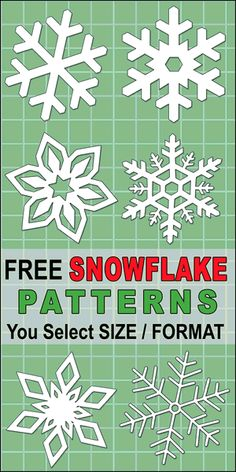 DIY Printable Snowflake Templates Patterns and Stencils. Use these Christmas clip art designs for xmas patterns holiday ornaments decorations coloring pages Silhouette and Cricut cutting machines scroll saw patterns. Paper Snowflake Template, Paper Snowflake Patterns, Snowflake Stencil, Snowflake Cutouts, Simple Snowflake, Snowflake Decorations, Origami Templates, Box Templates, Paper Snowflakes