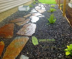 Pulling a lawnmower through rocks is painfully frustrating. By adding a flagstone walkway you are creating an easy way to walk to the back yard and you no longer have to struggle with pulling a lawnmower though rocks.