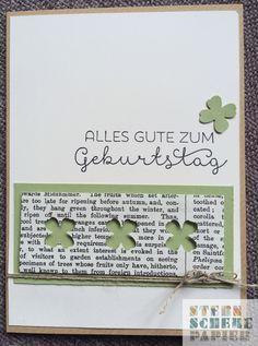 Schlichte Geburtstagskarte, Glückwünsche, Kleeblatt, Stempelset Landlust