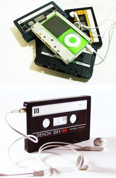 It'd be cool if it could slide in and out, or at least not a gray cassette, since I don't mess with my iPod much once it's on anyways. Coque Ipod Touch 5, Cassette Tape Crafts, Do It Yourself Decoration, Ipod Nano, Shop Front Design, Recycled Crafts, Geeks, Diy Art, Diy Gifts