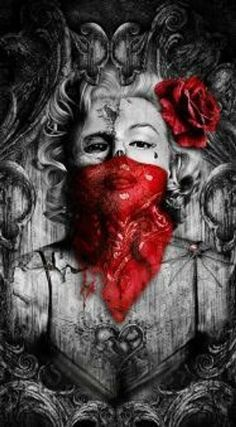 Red bandana Marilyn by ThrashinInd on Etsy Marilyn Monroe Wallpaper, Marilyn Monroe Tattoo, Marylin Monroe, Chicanas Tattoo, Tattoo Drawings, Blood Wallpaper, Fille Gangsta, Pastel Artwork, Chicano Art