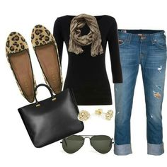 Cute outfit with leopard print flats Leopard Shoes Outfit, Leopard Print Shoes, Leopard Scarf, Mode Outfits, Casual Outfits, Fashion Outfits, Womens Fashion, Ballerine Leopard, Fall Winter Outfits