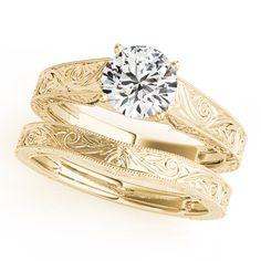 14K Yellow Gold Trellis Engagement Ring - 50650-E-1-14KY - Engagement Ring $10383.41, Wedding Band $549.99