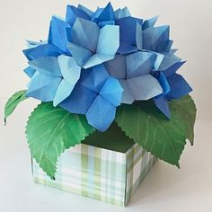 Small Origami Hydrangea Arrangement in Origami Box Vase