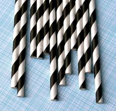 Black Striped Paper Straws with DIY Flags 25 by sweetestelle, $4.00