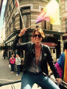 Heather peace at Jersey pride Red Leather, Leather Jacket, Equality, Pride, Jackets, Fashion, Studded Leather Jacket, Social Equality, Down Jackets
