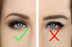 Great illustration of where to apply the contour (darker, matte) eyeshadow.