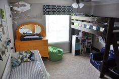 Everett & Bryce's Ready-for-Adventure Shared Room--Here's a cute example of a loft bed and a crib together.