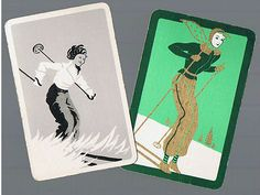 Playing Swap Cards 2 vint Deluxe Deco Lady Skier Winter Sports SG 40 | eBay