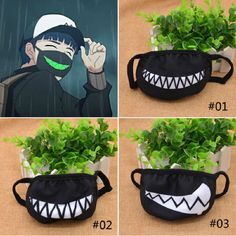 New Cartoon Funny Teeth Black Mouth Mask Fashion Unisex Cotton Funny Mouth Anti-Dust Face Mask Random pattern